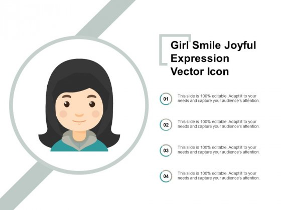 Girl Smile Joyful Expression Vector Icon Ppt PowerPoint Presentation Styles Objects