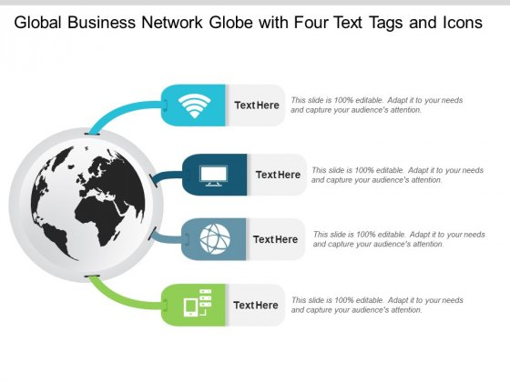 Global Business Network Globe With Four Text Tags And Icons Ppt PowerPoint Presentation Inspiration Examples