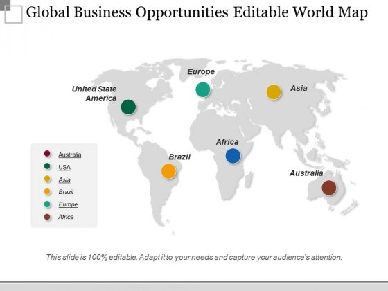 Global Business Opportunities Editable World Map Ppt PowerPoint