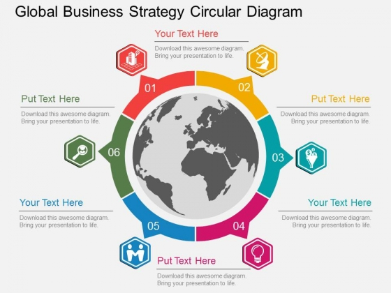 Global Business Strategy Circular Diagram Powerpoint Template