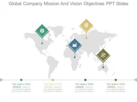 Global Company Mission And Vision Objectives Ppt Slides