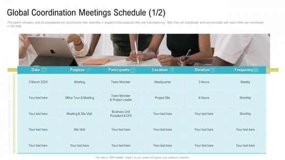 Global_Coordination_Meetings_Schedule_Purpose_Ppt_Layouts_Images_PDF_Slide_1