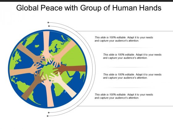 Global Peace With Group Of Human Hands Ppt PowerPoint Presentation Gallery Outfit
