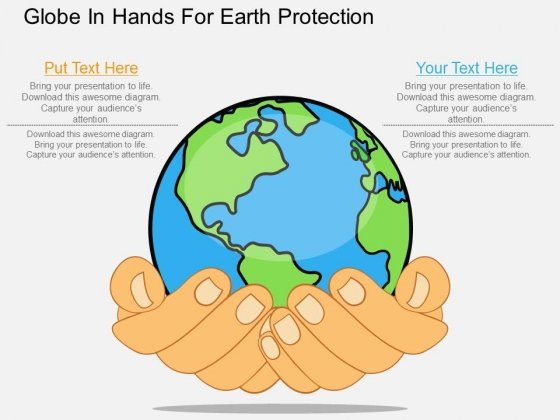 Globe In Hands For Earth Protection Powerpoint Template