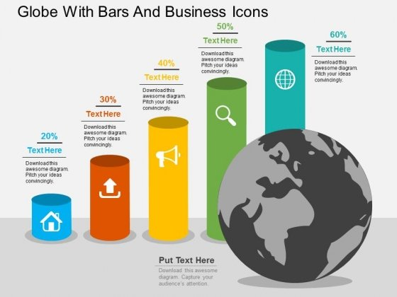 Globe With Bars And Business Icons Powerpoint Templates