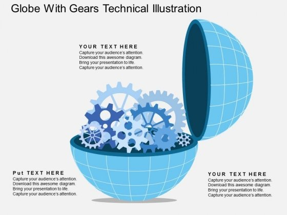 Globe With Gears Technical Illustration Powerpoint Template