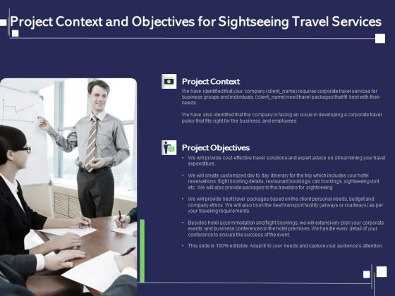 Globetrotting Tour Project Context And Objectives For Sightseeing Travel Services Ppt PowerPoint Presentation Ideas Aids PDF