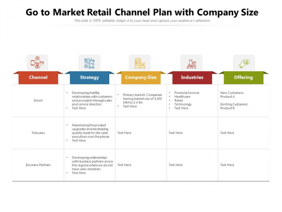 Go To Market Retail Channel Plan With Company Size Ppt PowerPoint Presentation Layouts Layout PDF
