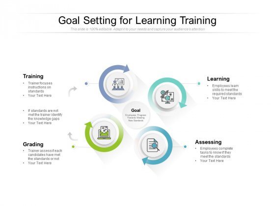 Goal Setting For Learning Training Ppt PowerPoint Presentation Show Graphics Design