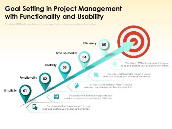 Goal Setting In Project Management With Functionality And Usability Ppt PowerPoint Presentation Infographics Professional PDF