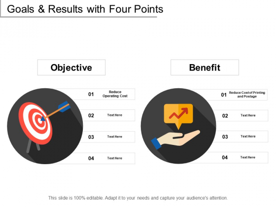 Goals And Results With Four Points Ppt PowerPoint Presentation Slides Files
