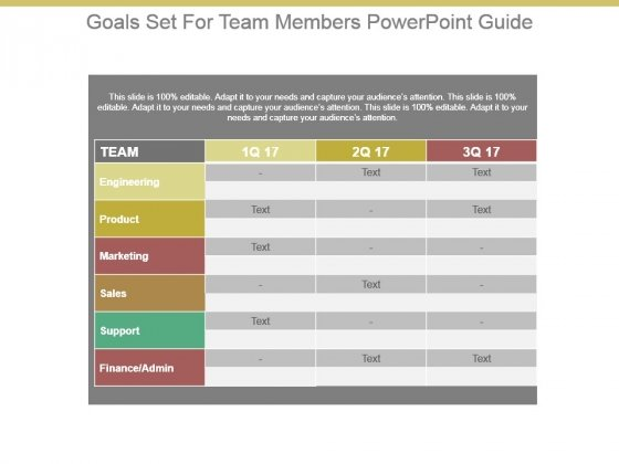 Goals Set For Team Members Powerpoint Guide