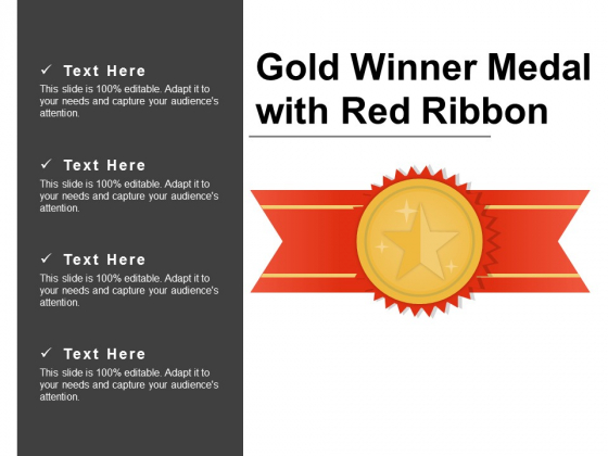 Gold Winner Medal With Red Ribbon Ppt PowerPoint Presentation Professional Icons