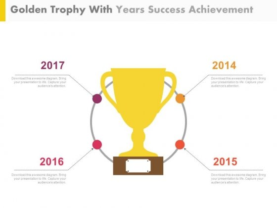 Golden Trophy For Business Achievements Powerpoint Slides