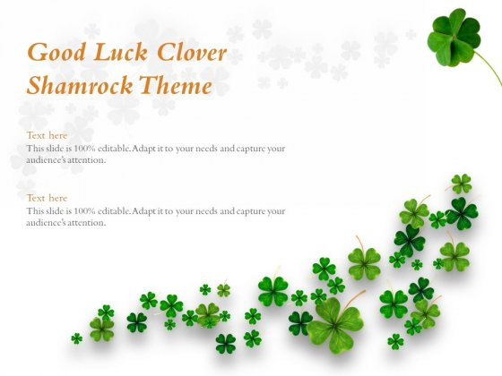 Good Luck Clover Shamrock Theme Ppt PowerPoint Presentation Portfolio Visual Aids