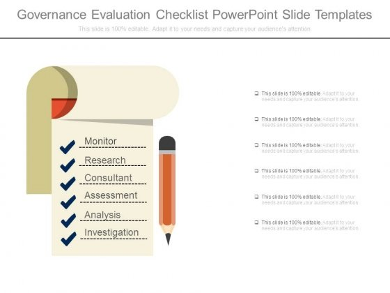 Governance Evaluation Checklist Powerpoint Slide Templates