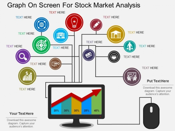 Graph On Screen For Stock Market Analysis Powerpoint Template