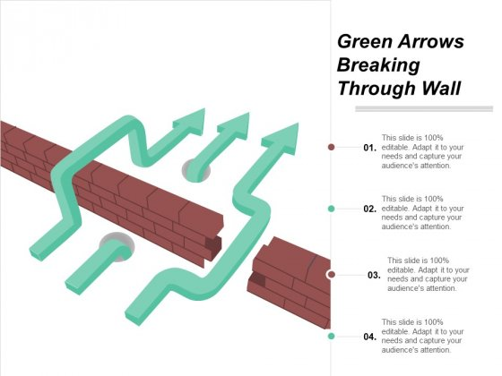 Green Arrows Breaking Through Wall Ppt PowerPoint Presentation Infographics Ideas