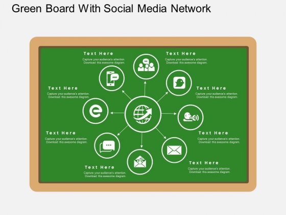 Green Board With Social Media Network PowerPoint Template