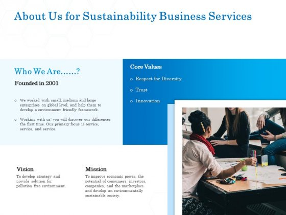 Green Business About Us For Sustainability Business Services Inspiration PDF
