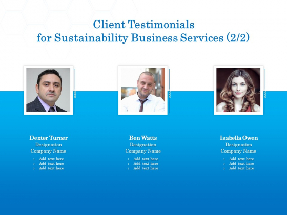 Green Business Client Testimonials For Sustainability Business Services Designation Template PDF