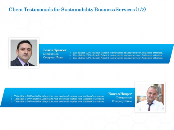 Green Business Client Testimonials For Sustainability Business Services Sample PDF