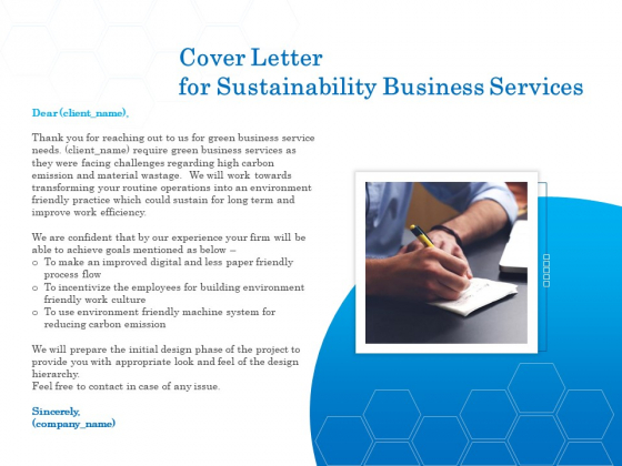 Green Business Cover Letter For Sustainability Business Services Formats PDF