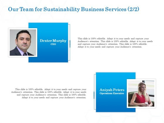 Green Business Our Team For Sustainability Business Services Audience Topics PDF