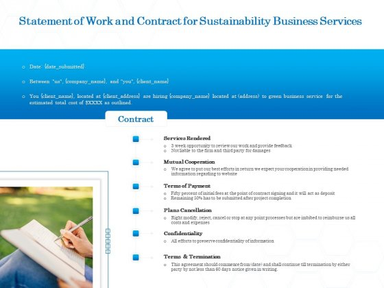 Green Business Statement Of Work And Contract For Sustainability Business Services Infographics PDF