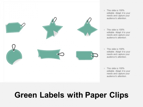 Green Labels With Paper Clips Ppt PowerPoint Presentation Slides Vector