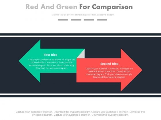 Green Left And Red Right Arrows For Comparison Powerpoint Slides