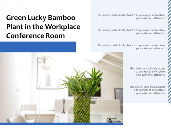 Green Lucky Bamboo Plant In The Workplace Conference Room Ppt PowerPoint Presentation Pictures Background Designs PDF