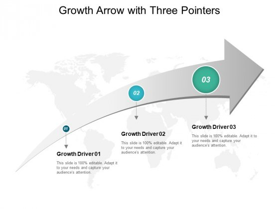 Growth Arrow With Three Pointers Ppt Powerpoint Presentation Layouts Design Templates