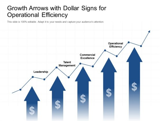 Growth Arrows With Dollar Signs For Operational Efficiency Ppt Powerpoint Presentation Icon Smartart