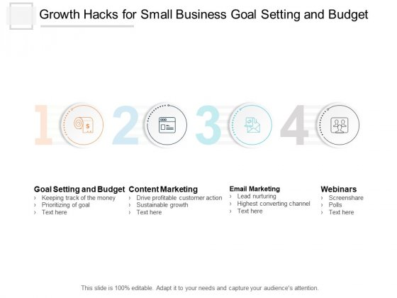 Growth Hacks For Small Business Goal Setting And Budget Ppt PowerPoint Presentation Icon Design Templates