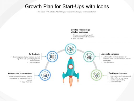 Growth Plan For Start Ups With Icons Ppt PowerPoint Presentation Summary Icon
