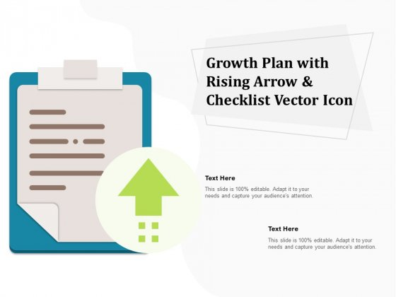 Growth Plan With Rising Arrow And Checklist Vector Icon Ppt PowerPoint Presentation Gallery Show