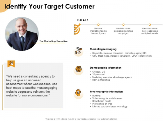 Growth Strategy And Growth Management Implementation Identify Your Target Customer Ppt Portfolio Slides PDF