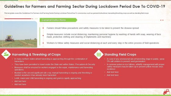 Guidelines For Farmers And Farming Sector During Lockdown Period Due To Covid 19 Ppt Infographics Brochure PDF