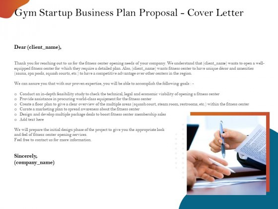 Gym And Fitness Center Business Plan Gym Startup Business Plan Proposal Cover Letter Structure PDF