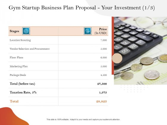 Gym And Fitness Center Business Plan Gym Startup Business Plan Proposal Your Investment Price Mockup PDF