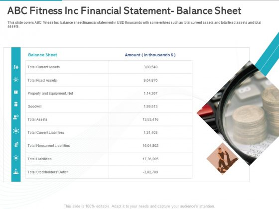 Gym Health And Fitness Market Industry Report Abc Fitness Inc Financial Statement Balance Sheet Ppt File Layouts PDF