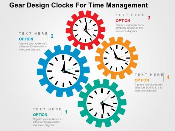 Gear Design Clocks For Time Management PowerPoint Template