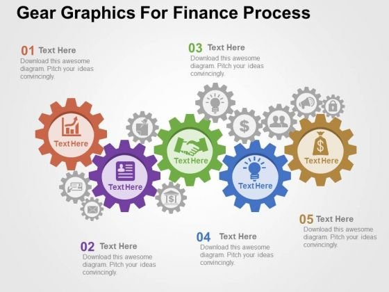 Gear Graphics For Finance Process PowerPoint Templates