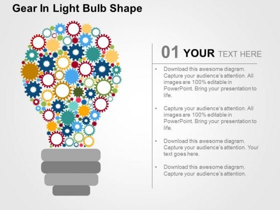 Gear In Light Bulb Shape PowerPoint Template