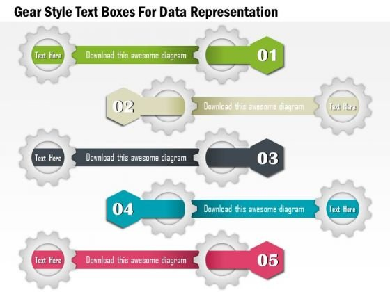 Gear Style Text Boxes For Data Representation Presentation Template