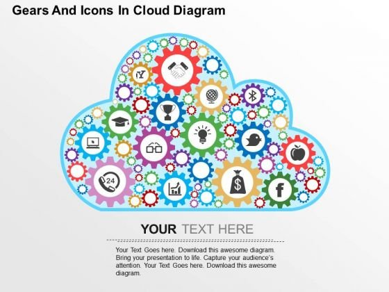 Gears And Icons In Cloud Diagram PowerPoint Template