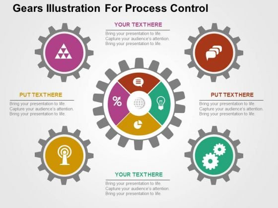 Gears Illustration For Process Control PowerPoint Template