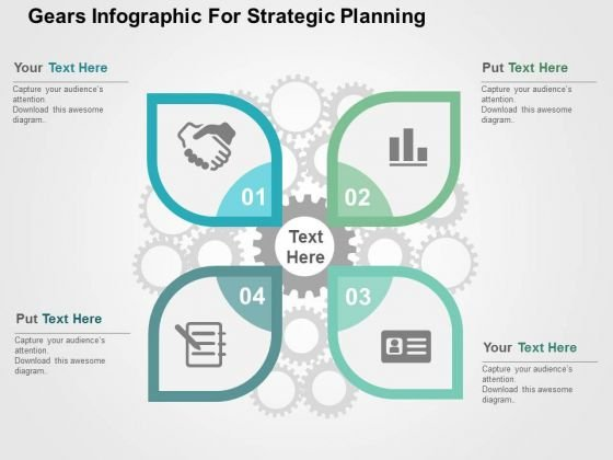 Gears Infographic For Strategic Planning PowerPoint Template
