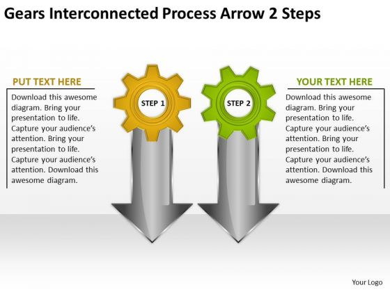Gears Interconnected Process Arrow 2 Steps Help Writing Business Plan PowerPoint Slides